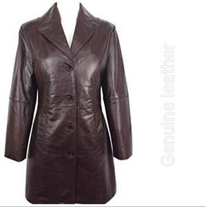 Long brown lightweight leather coat size large